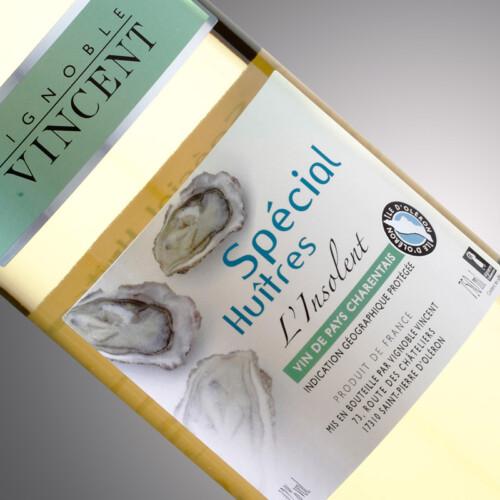 vin blanc l'insolent spécial huitres Vignoble Vincent