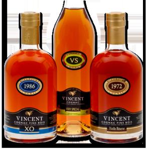 gamme cognacs Vignoble Vincent